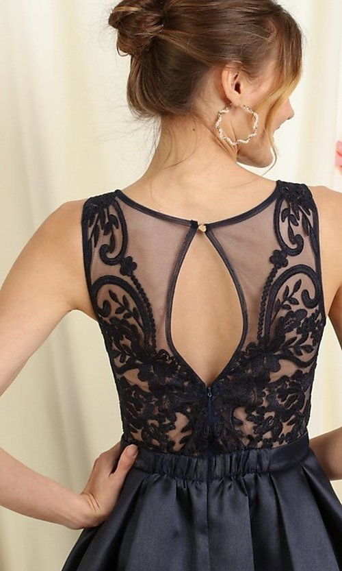 Image of lace-bodice short pleated a-line homecoming dress. Style: FG-SOI-21-S19457 Detail Image 3