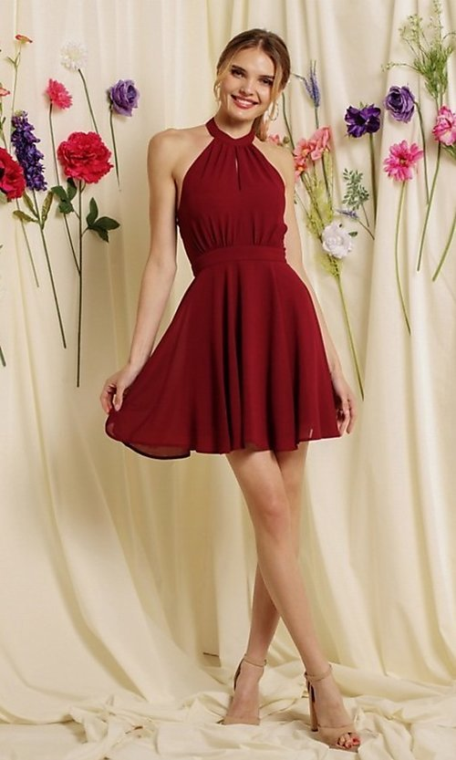 Image of open-back short halter homecoming dress. Style: FG-SOI-21-S19354 Front Image