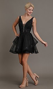 Image of embroidered-glitter short black homecoming dress. Style: FG-SOI-21-W19091 Front Image