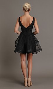 Image of embroidered-glitter short black homecoming dress. Style: FG-SOI-21-W19091 Back Image
