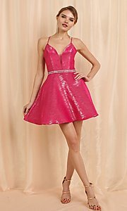 Image of metallic pink short corset-back homecoming dress. Style: FG-SOI-21-W19471 Front Image