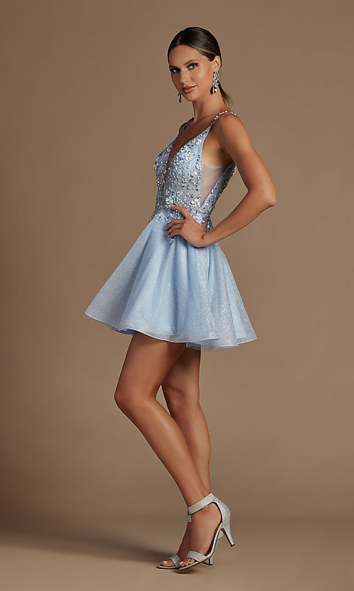 Image of embroidered short glitter pastel homecoming dress. Style: NA-21-E711 Detail Image 1