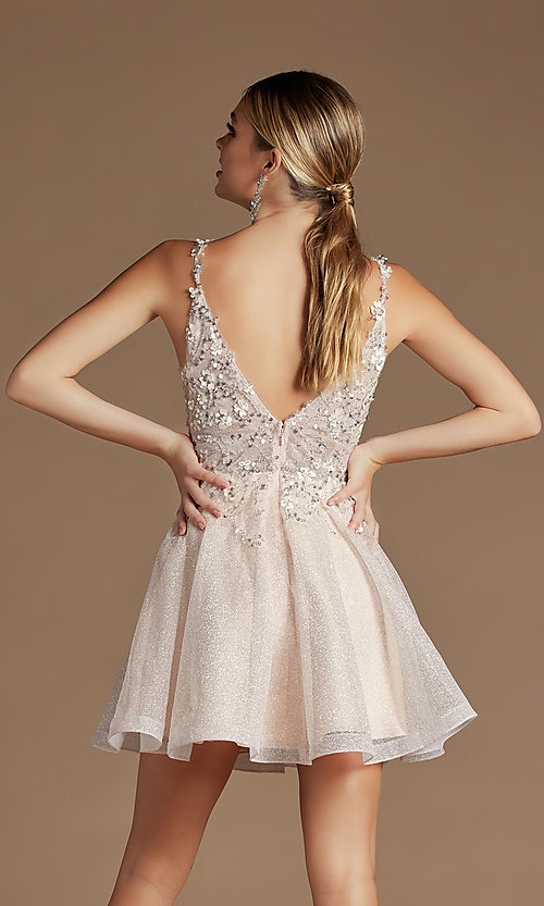 Image of embroidered short glitter pastel homecoming dress. Style: NA-21-E711 Detail Image 3