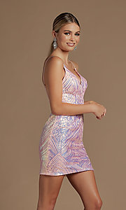Image of backless short metallic sequin homecoming dress. Style: NA-21-E712 Detail Image 2