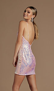 Image of backless short metallic sequin homecoming dress. Style: NA-21-E712 Detail Image 3
