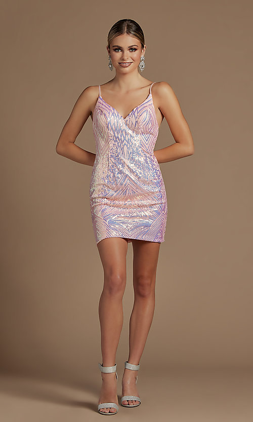 Image of backless short metallic sequin homecoming dress. Style: NA-21-E712 Detail Image 4