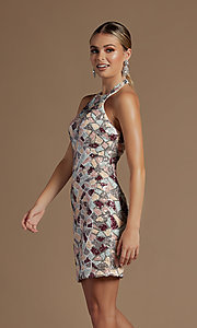 Image of fitted multi-color short sequin homecoming dress. Style: NA-21-E713 Detail Image 1