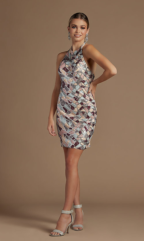 Image of fitted multi-color short sequin homecoming dress. Style: NA-21-E713 Detail Image 2