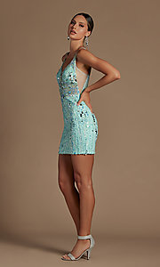Image of sheer-bodice short sequin homecoming dress. Style: NA-21-E714 Detail Image 2