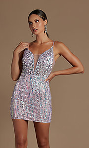 Image of sheer-bodice short sequin homecoming dress. Style: NA-21-E714 Detail Image 3