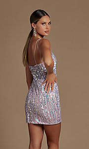 Image of sheer-bodice short sequin homecoming dress. Style: NA-21-E714 Detail Image 4