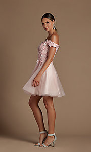Image of off-the-shoulder short hoco dress with 3D flowers. Style: NA-21-E716 Detail Image 5