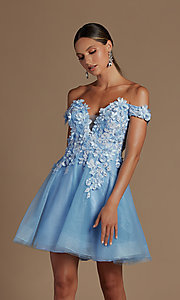 Image of off-the-shoulder short hoco dress with 3D flowers. Style: NA-21-E716 Detail Image 6
