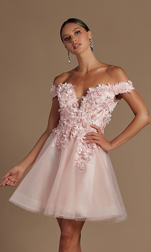 Image of off-the-shoulder short hoco dress with 3D flowers. Style: NA-21-E716 Detail Image 3