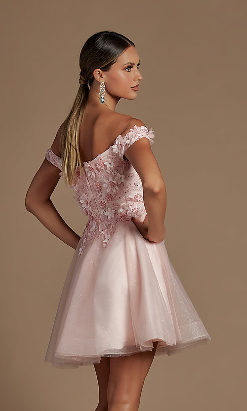 Image of off-the-shoulder short hoco dress with 3D flowers. Style: NA-21-E716 Detail Image 4