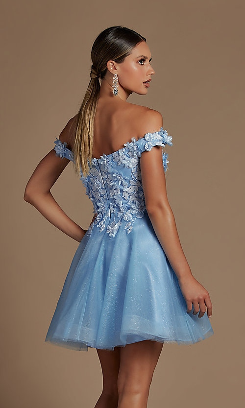 Image of off-the-shoulder short hoco dress with 3D flowers. Style: NA-21-E716 Back Image