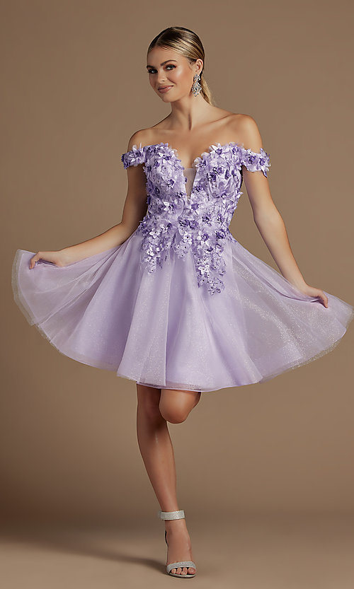 Image of off-the-shoulder short hoco dress with 3D flowers. Style: NA-21-E716 Detail Image 1