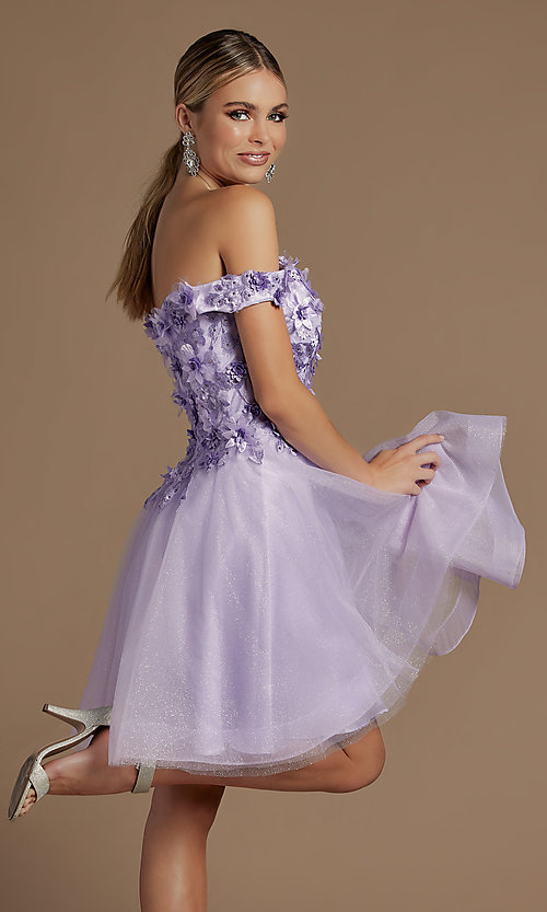 Image of off-the-shoulder short hoco dress with 3D flowers. Style: NA-21-E716 Detail Image 2