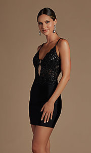 Image of sheer-bodice corset-back sexy short cocktail dress. Style: NA-21-E717 Detail Image 1