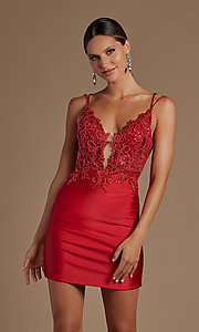 Image of sheer-bodice corset-back sexy short cocktail dress. Style: NA-21-E717 Detail Image 4