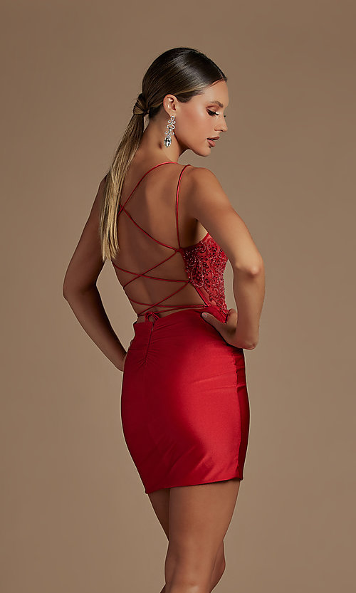 Image of sheer-bodice corset-back sexy short cocktail dress. Style: NA-21-E717 Detail Image 5