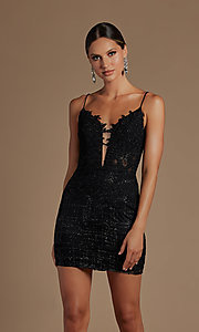 Image of illusion corset-bodice sexy short homecoming dress. Style: NA-21-R700 Detail Image 1