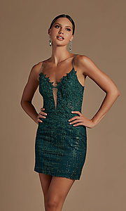 Image of illusion corset-bodice sexy short homecoming dress. Style: NA-21-R700 Detail Image 3