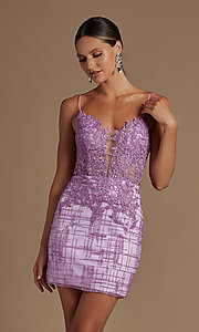 Image of illusion corset-bodice sexy short homecoming dress. Style: NA-21-R700 Detail Image 5