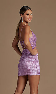 Image of illusion corset-bodice sexy short homecoming dress. Style: NA-21-R700 Detail Image 6