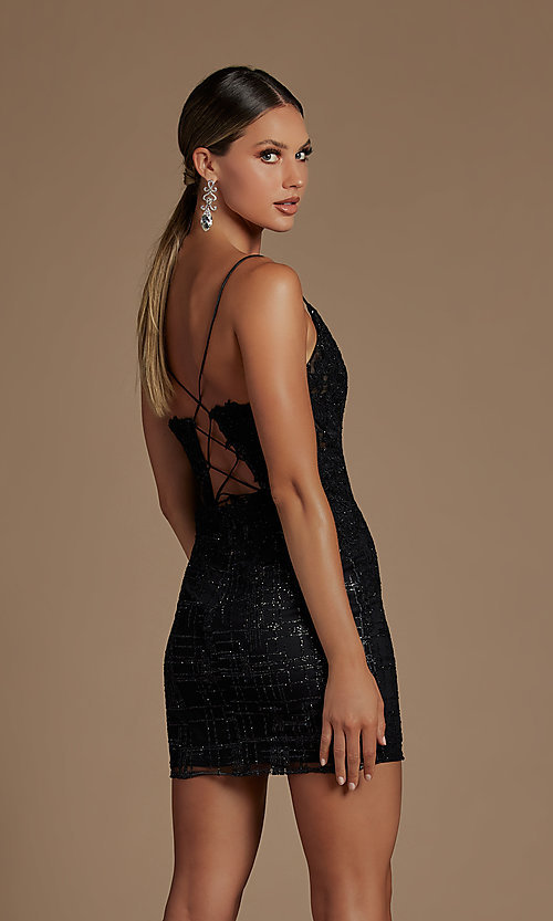 Image of illusion corset-bodice sexy short homecoming dress. Style: NA-21-R700 Detail Image 2