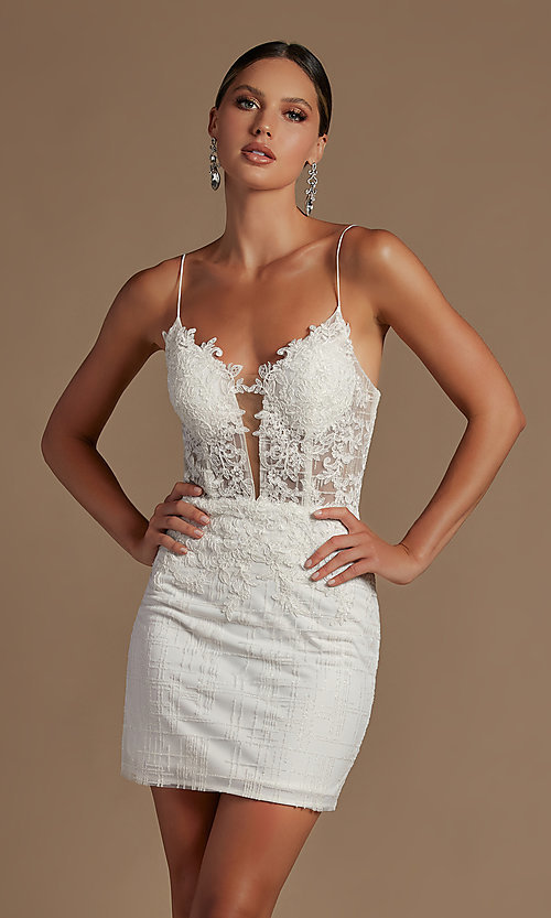 Image of illusion corset-bodice sexy short homecoming dress. Style: NA-21-R700 Front Image