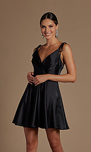 Image of shoulder-tie short simple homecoming dress. Style: NA-21-R701 Front Image