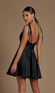 Image of shoulder-tie short simple homecoming dress. Style: NA-21-R701 Back Image
