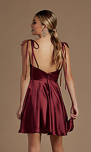 Image of shoulder-tie short simple homecoming dress. Style: NA-21-R701 Detail Image 2