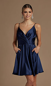 Image of shoulder-tie short simple homecoming dress. Style: NA-21-R701 Detail Image 4