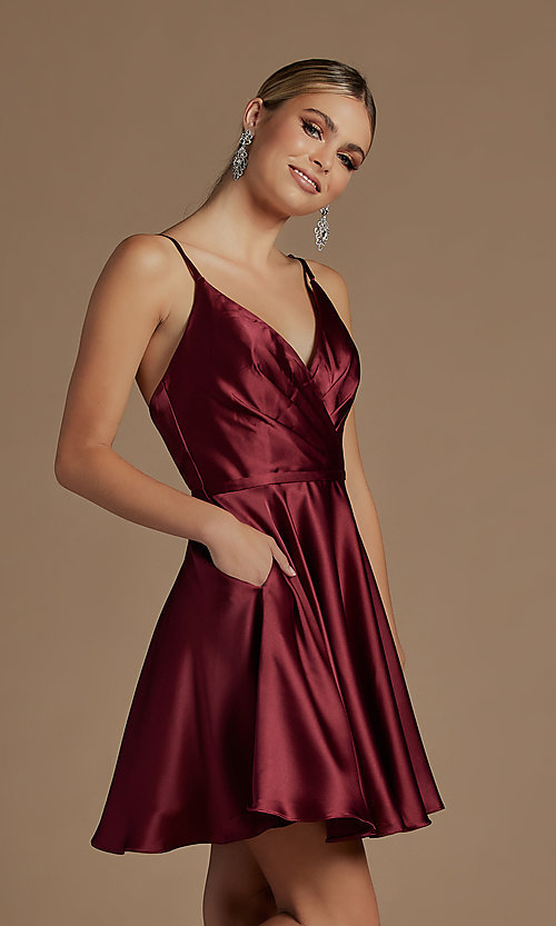 Image of shoulder-tie short simple homecoming dress. Style: NA-21-R701 Detail Image 1