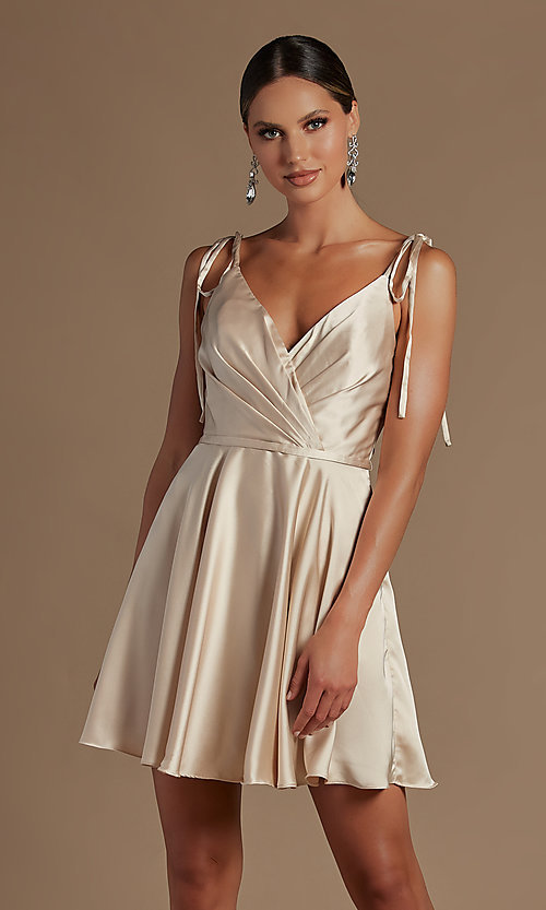 Image of shoulder-tie short simple homecoming dress. Style: NA-21-R701 Detail Image 3