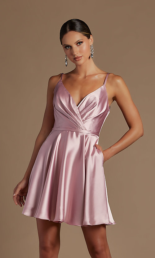 Image of shoulder-tie short simple homecoming dress. Style: NA-21-R701 Detail Image 5