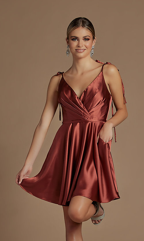 Image of shoulder-tie short simple homecoming dress. Style: NA-21-R701 Detail Image 6