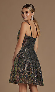 Image of a-line sequin short sparkly homecoming dress. Style: NA-21-R703 Detail Image 5