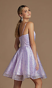 Image of a-line sequin short sparkly homecoming dress. Style: NA-21-R703 Detail Image 2