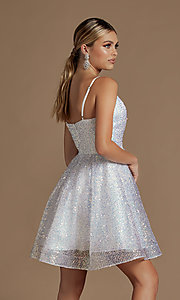 Image of a-line sequin short sparkly homecoming dress. Style: NA-21-R703 Back Image