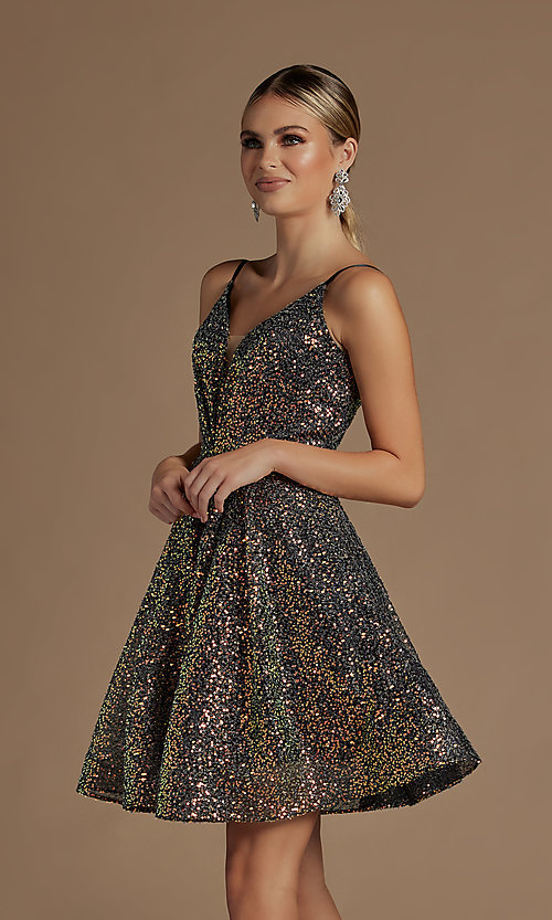 Image of a-line sequin short sparkly homecoming dress. Style: NA-21-R703 Detail Image 4