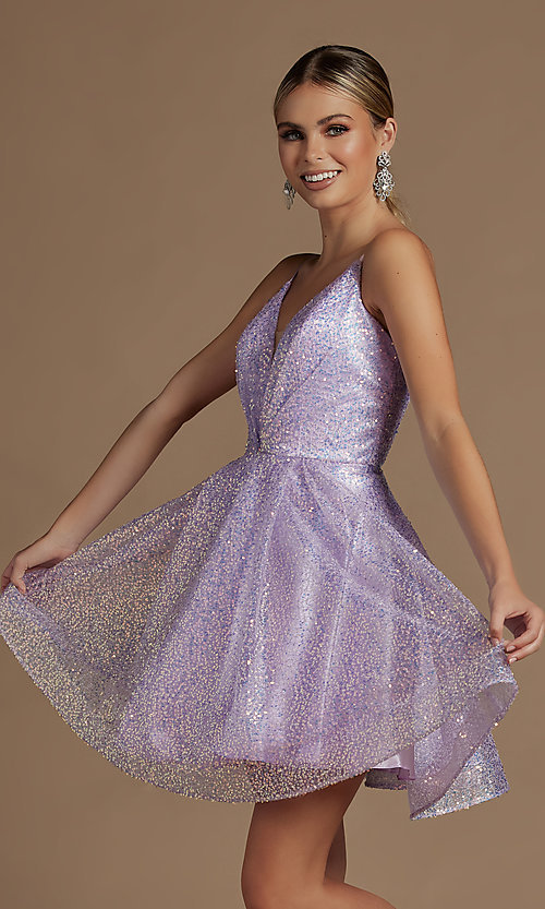 Image of a-line sequin short sparkly homecoming dress. Style: NA-21-R703 Detail Image 3