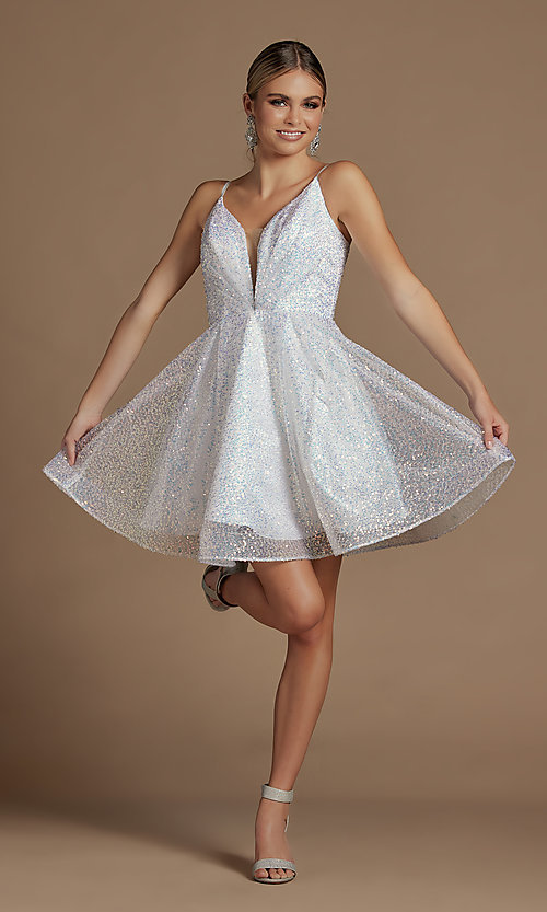Image of a-line sequin short sparkly homecoming dress. Style: NA-21-R703 Detail Image 1