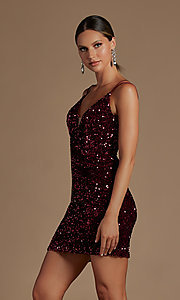Image of corset-back short formal sequin homecoming dress. Style: NA-21-R704 Detail Image 2