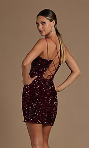 Image of corset-back short formal sequin homecoming dress. Style: NA-21-R704 Detail Image 3