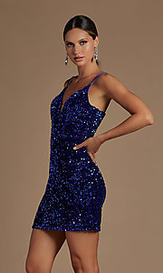 Image of corset-back short formal sequin homecoming dress. Style: NA-21-R704 Front Image