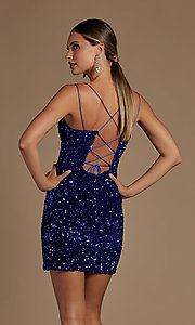 Image of corset-back short formal sequin homecoming dress. Style: NA-21-R704 Back Image