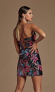 Image of sparkly short multi-color sequin homecoming dress. Style: NA-21-R702 Back Image